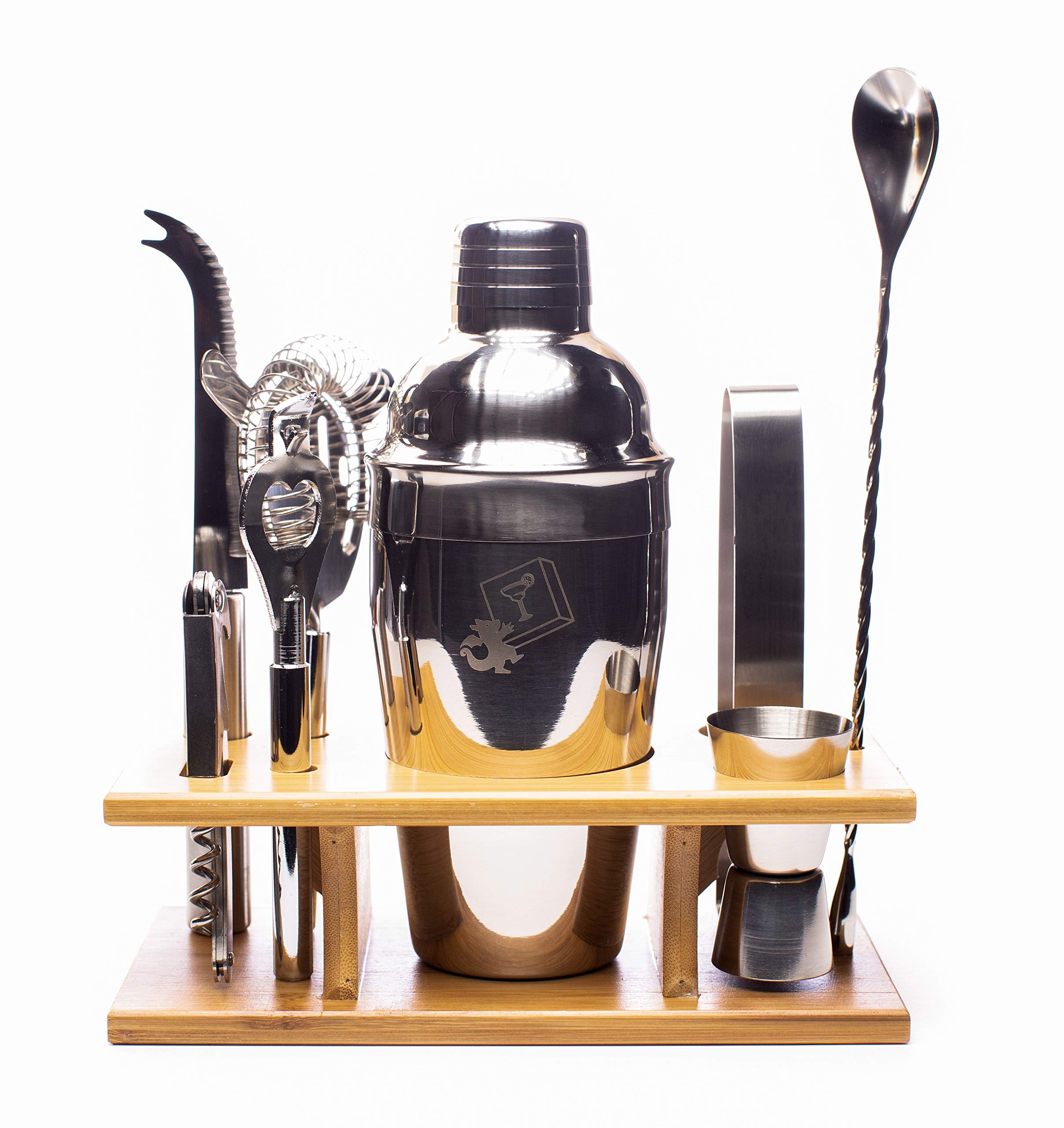 Eight Piece Stainless Steel Cocktail Shaker Set by DragonEra Products. Everything you need to entertain!