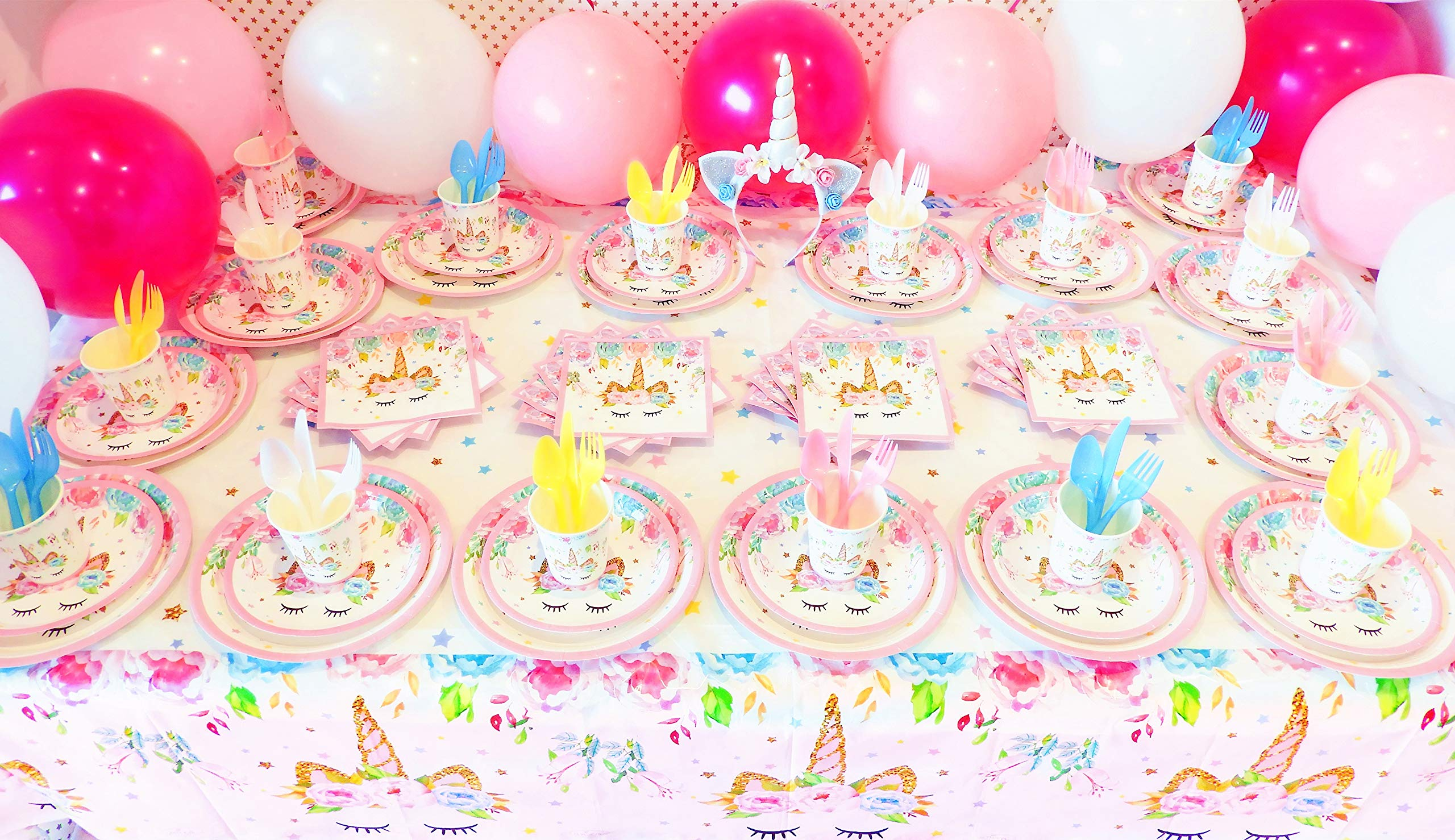 Unicorn Party Supplies Set with BONUS Glittery Unicorn Headband and 30 Balloons | 145 Piece Disposable Unicorn Themed… 9
