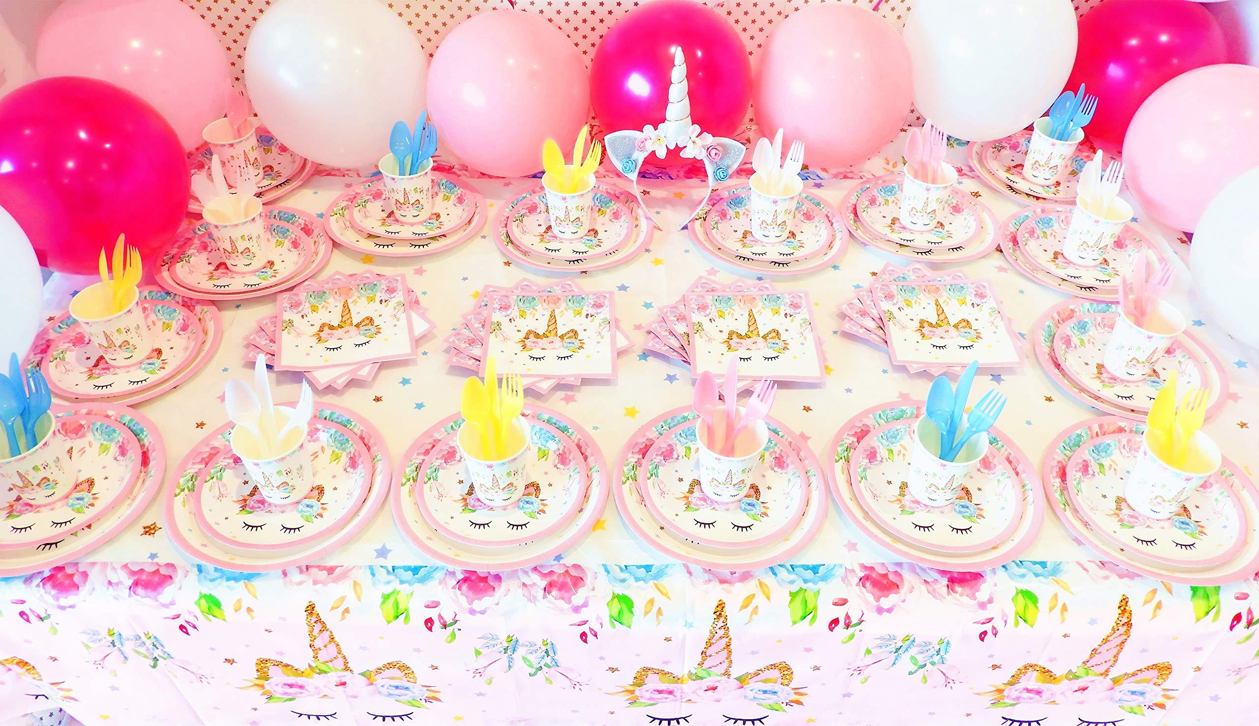 Unicorn Party Supplies Set with BONUS Glittery Unicorn Headband and 30 Balloons   145 Piece Disposable Unicorn Themed… 9