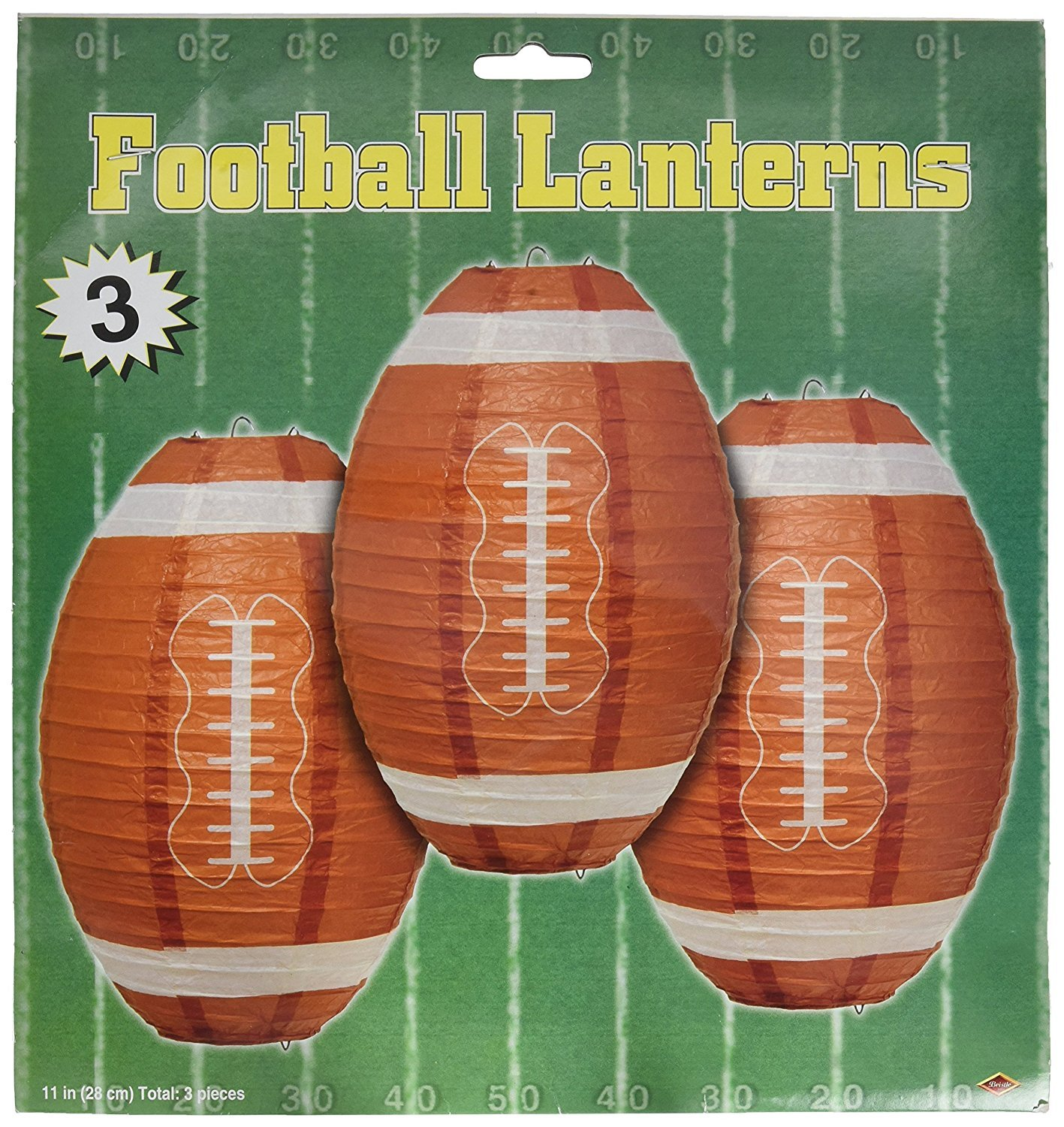 Beistle Football Paper Lanterns, 11-Inch, Brown/White (2-Pack)