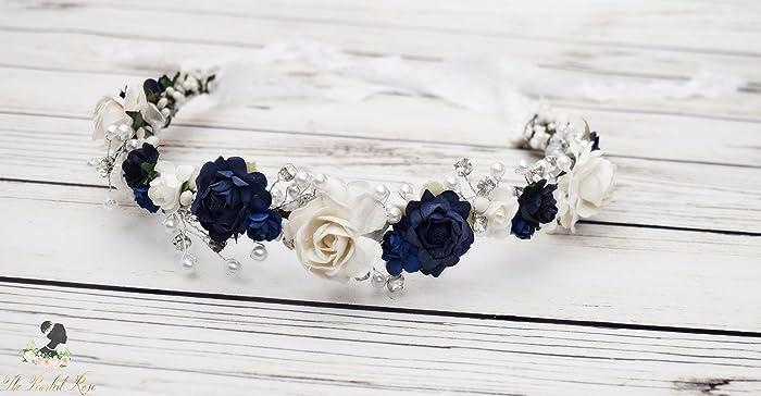 Amazon Navy Flower Crown Romantic Wedding White Flower