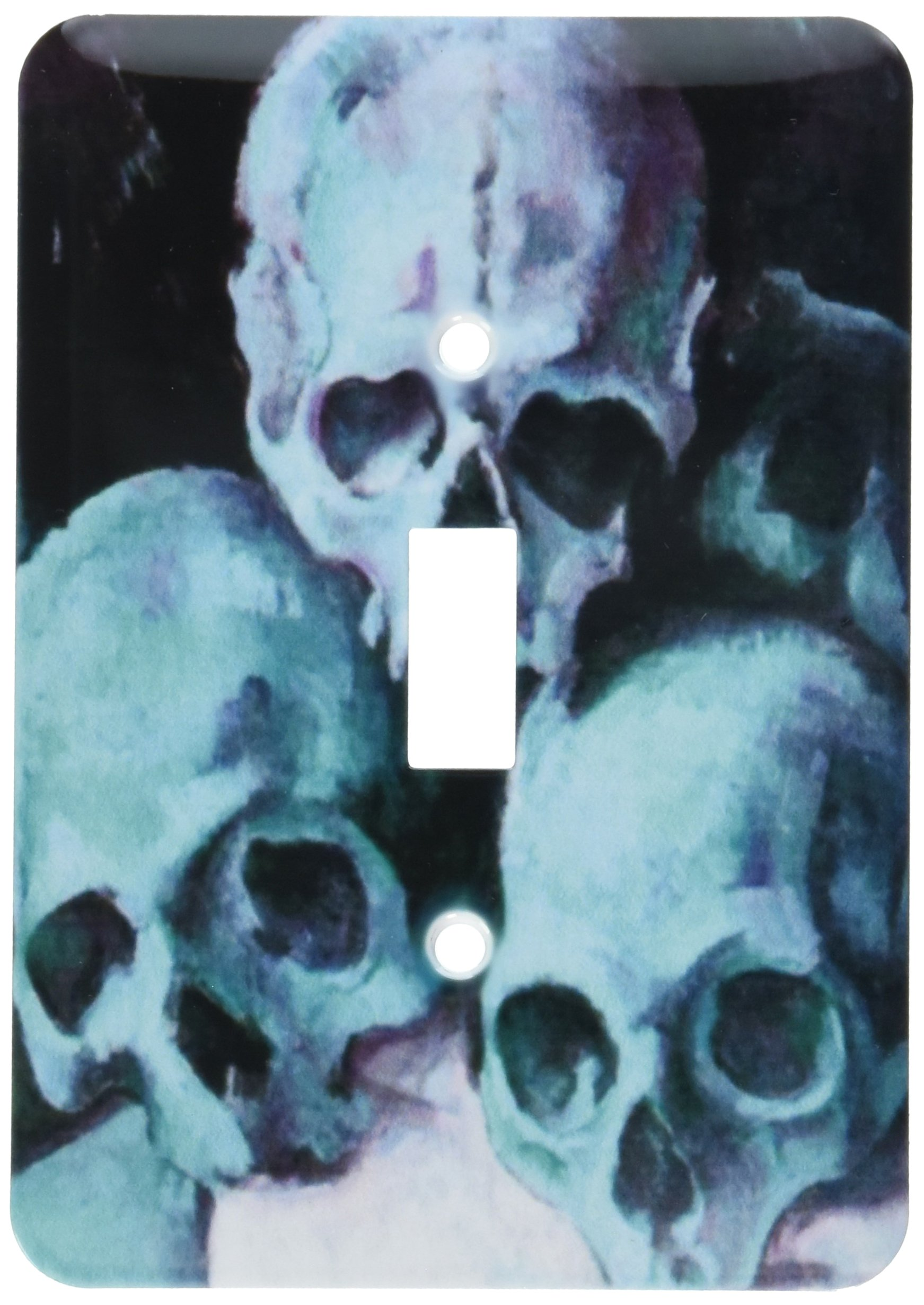 3dRose lsp_46745_1 Pyramid of Skulls Halloween, Skull, Skulls, Teal, Teal Skulls, Halloween Party, Pyramid of Skulls Light Switch Cover