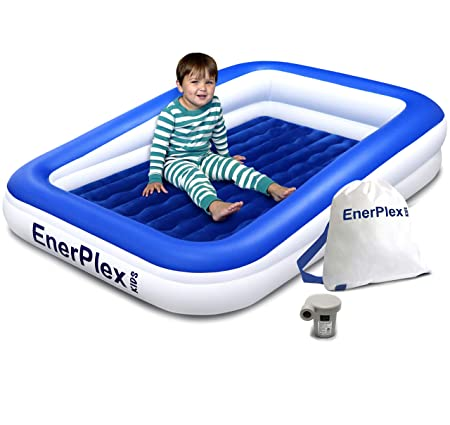 EnerPlex Kids Inflatable Toddler Travel Bed with High Speed Pump, Portable Air Mattress for Kids, Blow up Mattress with Sides Built-in Safety Bumper – Blue 2-Year Warranty