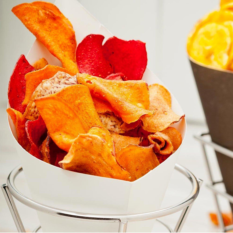 Patatas fritas cesta de soporte/soporte con doble Salsa platos bandeja para servir, acero inoxidable parte bandeja para patatas fritas de cono palomitas de ...