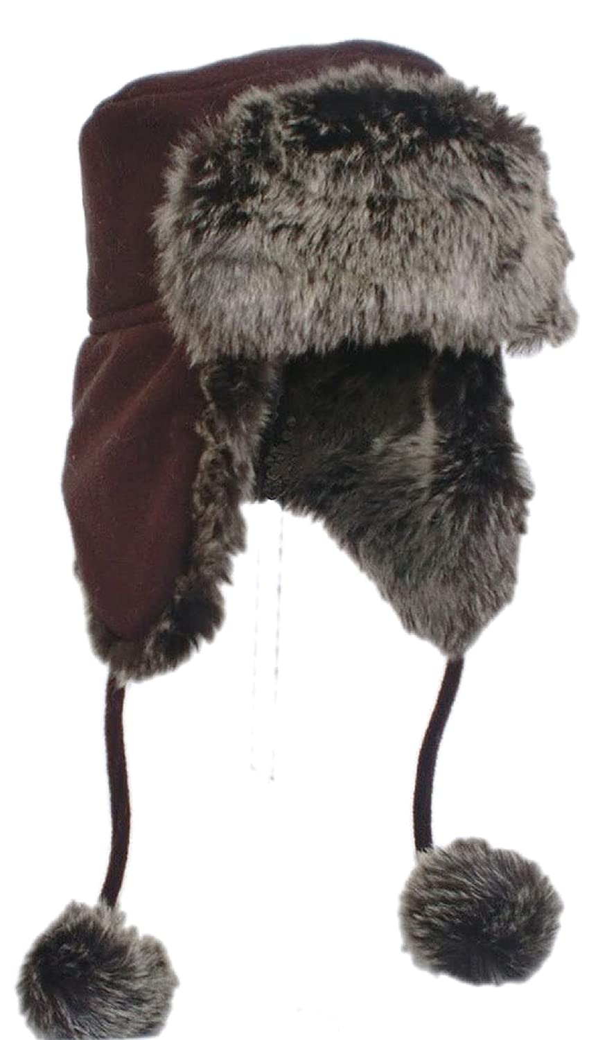 Shropshire Supplies Ladies/Girls Fully Lined Fleece Trapper Hat with Faux Fur and Pom Poms