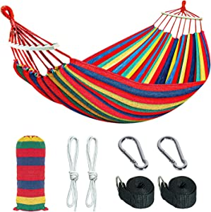 Gonioa Brazilian Camping Hammock Extra Large Canvas Cotton Hanging Hammock Hold 450lbs,Two Person Relaxing Bed Outdoor&Indoor,Perfect for Camping,Travel,Beach, Patio,Room (Red & Yellow Stripes)