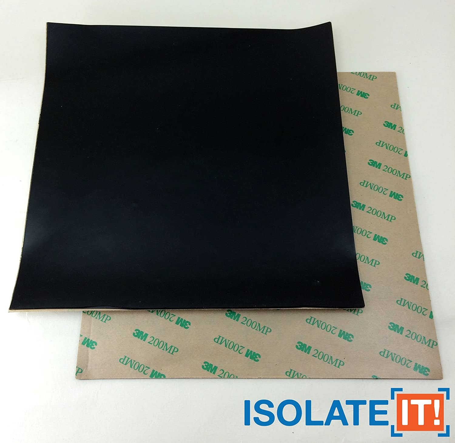 1 Sheet 0206081-60 Isolate It!: Sorbothane Acoustic and Vibration Thin Film Square 0.080 x 6 x 6 with 3M Adhesive 60 Duro