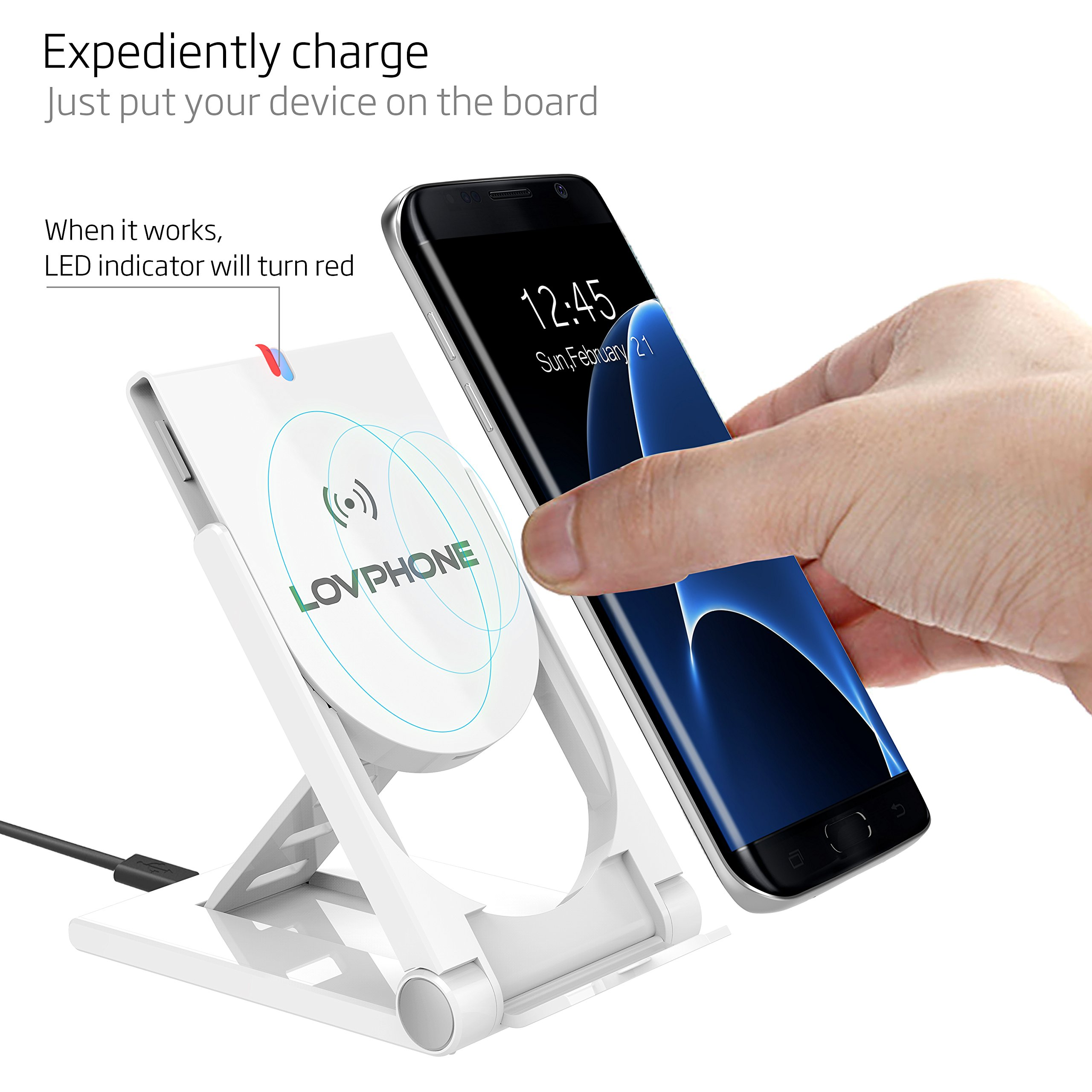 Wireless Charger-LOVPHONE QI Wireless Charging Stand Pad Quick Charge for Samsung Galaxy S7, S7 Edge, Galaxy S6, ,S6 Edge ,S6 Edge Plus,Note 5, (AC Adapter Not Included) (White)