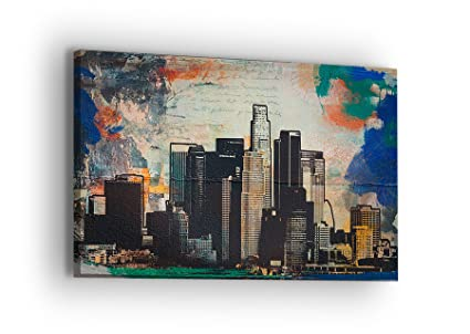 United Streets of Art Los Angeles Downtown Canvas Wall Art - Professional  Quality Print Gallery Wrap Modern Home Decor - Ready to Hang - Made in USA