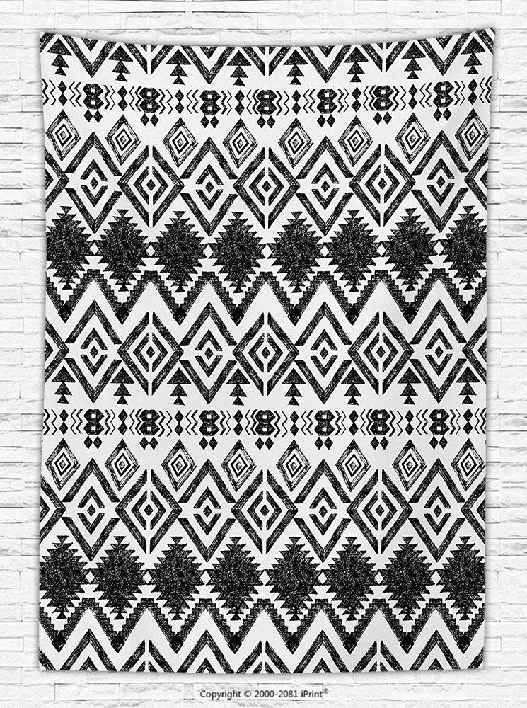617ddceb3b12f Tribal Decor Fleece Throw Blanket Hand Drawn Tribal Pattern Geometric and  Decorative Aztec Design Print Throw Blanket Black and White: Amazon.co.uk:  Kitchen ...