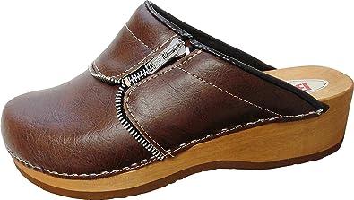 BUXA bei Lusy011 Schweden Holz Clogs - Pantolette Gr.35, 36, 37, 38, 39, 40, 41 Braun Echt Leder- (Made in Poland 6.3.12.50) (41)