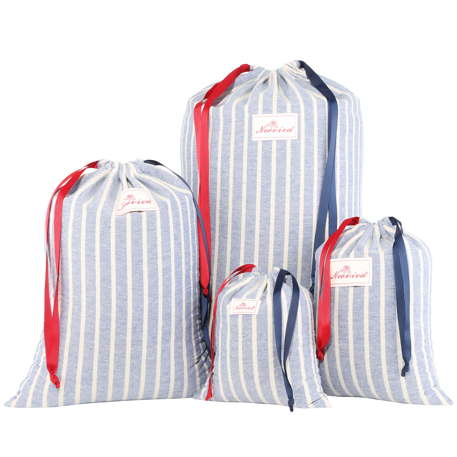 Neoviva Cotton Denim Drawstring Storage Bags for Home and Travel Organization, Set of 4 in Different Sizes, Chalk Striped Cosmic Sky