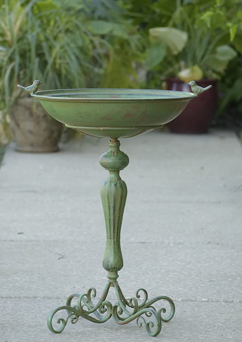 Zaer Ltd. Pedestal Style Birdbath (Green)