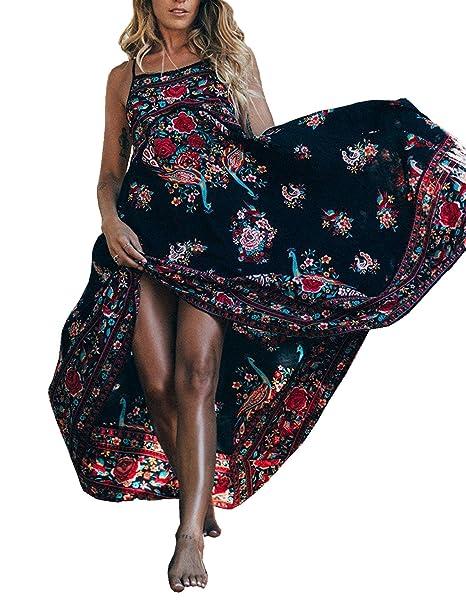 R.Vivimos Women Summer Print Spaghetti Straps Long Dresses Small Blak