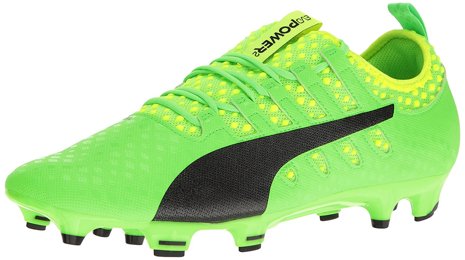 PUMA Men's Evopower Vigor 2 FG Soccer Schuhe, Grün Gecko schwarz-Safety Yellow, 9.5 M US