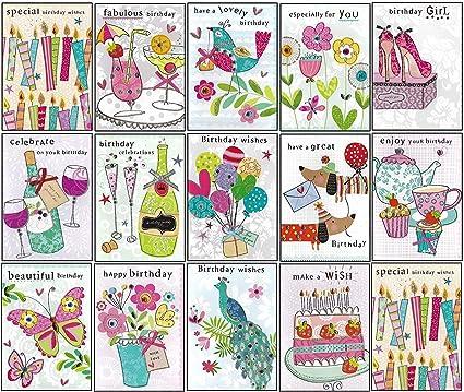 Pack de 20 Mezclado feliz cumpleaños – tarjetas de felicitación/al por mayor Bulk Multipack variedad mixtos Selección tarjetas de cumpleaños: Amazon.es: Oficina y papelería