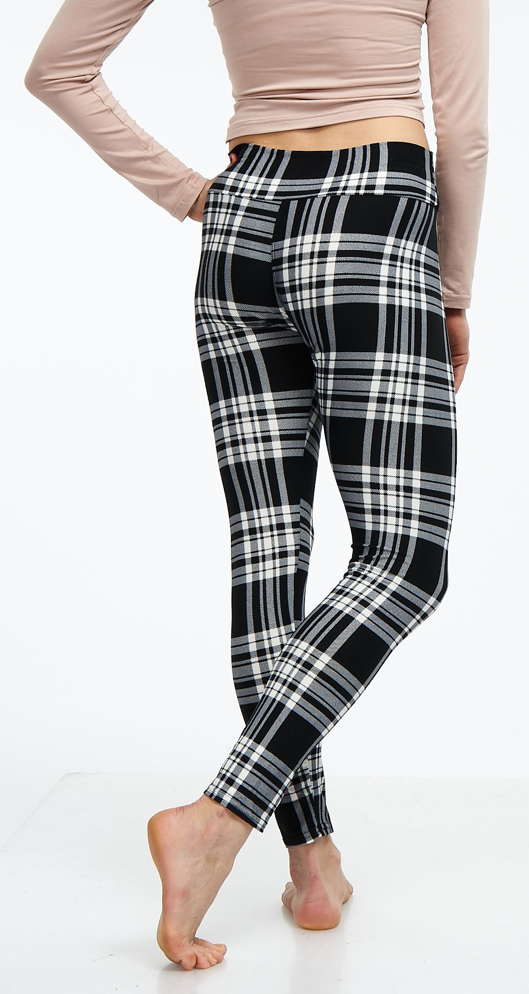 LMB Lush Moda Extra Soft Leggings with Designs- Variety of Prints Yoga Waist - 769YF Black White Plaid B5 by LMB (Image #8)