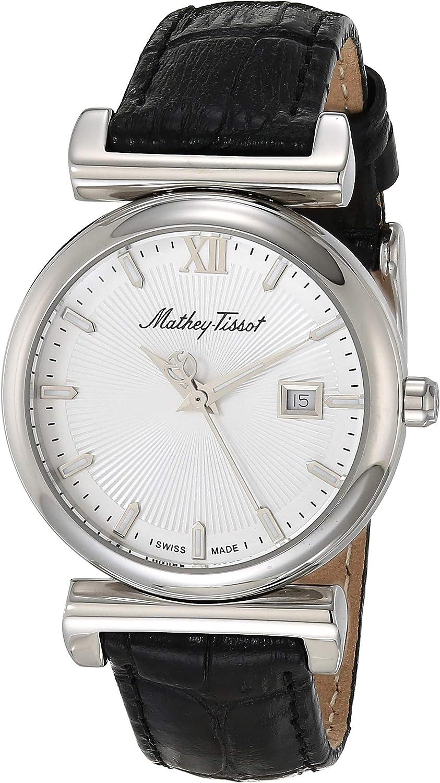 MATTHEY-TISSOT - Correa de cuero de cuarzo de acero inoxidable, color negro, 15 relojes casuales (Modelo: D410ALI)