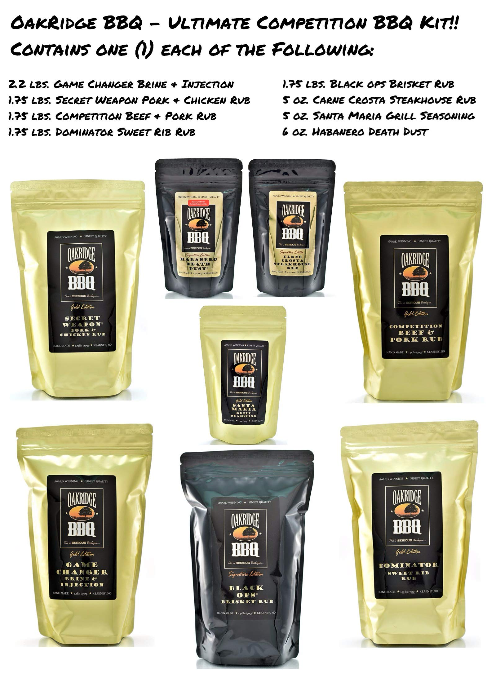 Oakridge BBQ The Ultimate Back Yard BarBQ Kit - Contains Eight (8) of the Most Popular Barbeque Rubs and Seasonings by Oakridge BBQ (Image #1)