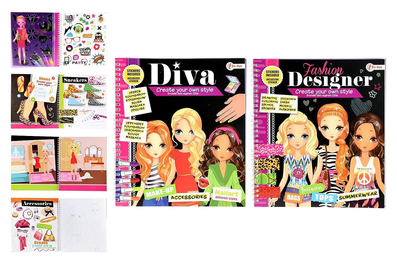 toi-toys – Mode 2 sortiert Bücher zum Ausmalen, 46922z, Mehrfarbig ...