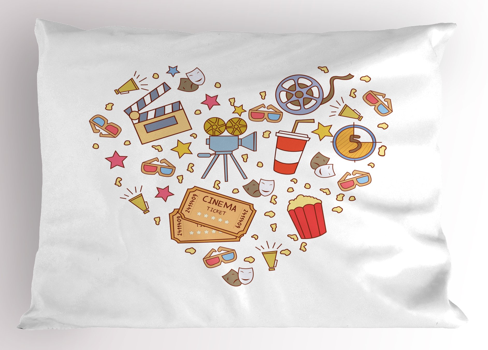 Ambesonne Movie Theater Pillow Sham, Cinema Attribute Love Retro Icons Collection in The Shape of a Heart Colorful, Decorative Standard Queen Size Printed Pillowcase, 30 X 20 inches, Multicolor
