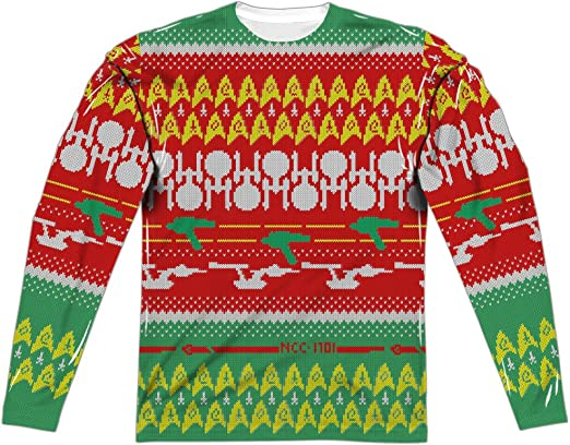 Star Trek Enterprise UGLY CHRISTMAS SWEATER PRINT 2-Sided Long Sleeve Poly Shirt