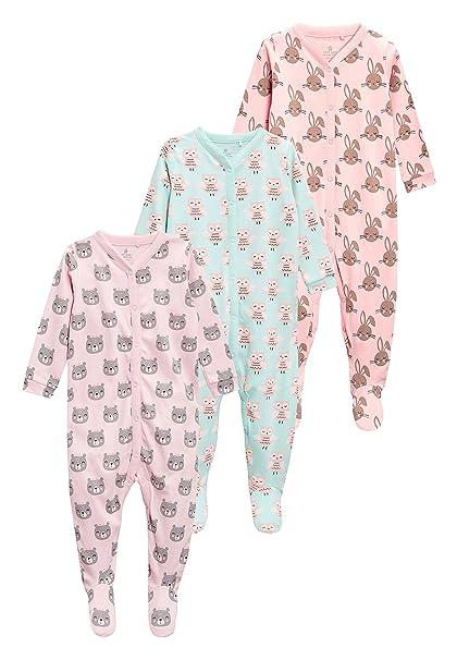 next Bebé-Niñas Pack De Tres Pijamas Tipo Pelele con Estampado De Animal (0