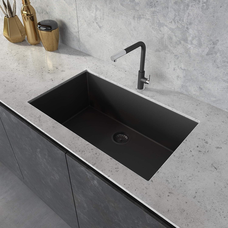 Ruvati 33 x 19 inch Granite Composite Undermount Single Bowl Kitchen Sink - Midnight Black - RVG2080BK