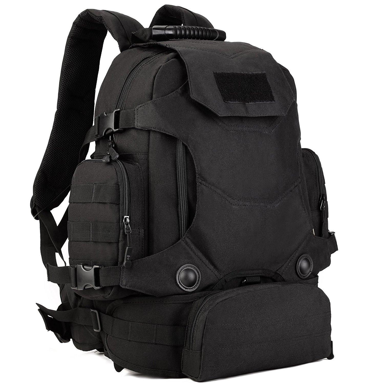 Selighting Tactical Backpack 40Lミリタリーリュックサック防水MOLLEアサルトパックトレッキング用ウエストバッグ付きハイキングキャンプ用バックパック(ブラック40L) B076J1K98S