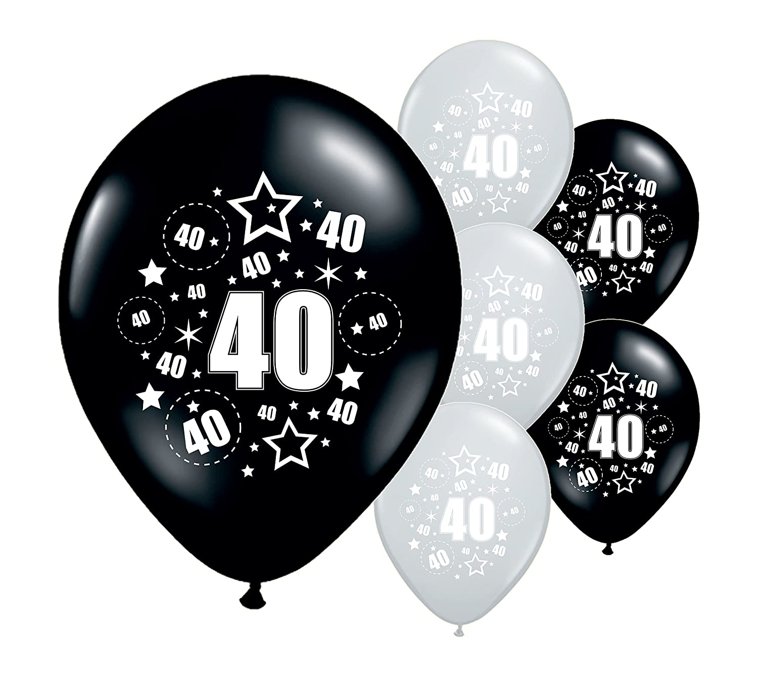 Partyangels 10 X AGE 40th BIRTHDAY BALLOONS BLACK SILVER PINK BLUE 12 HELIUM AIRFILL PA Amazoncouk Toys Games