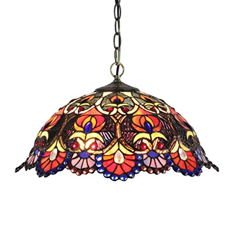 Gweat Tiffany 18 Inch European Gorgeous Vintage Style Stained Glass Ceiling  Lamp Pendant Light Dining