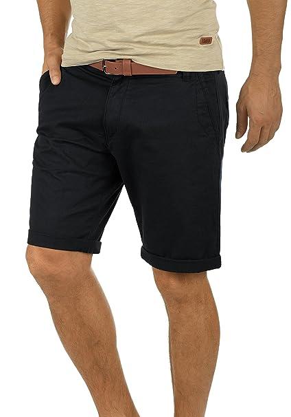 !Solid Montijo Chino Pantalón Corto Bermuda Pantalones De Tela Para Hombre Con Cinturón Elástico Regular-Fit N3DgyL9fb
