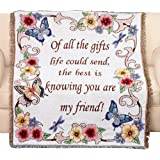 """Tapestry Throw Blanket with Fringe Border, My Friend, Floral with Butterflies, 50"""" X 60"""""""