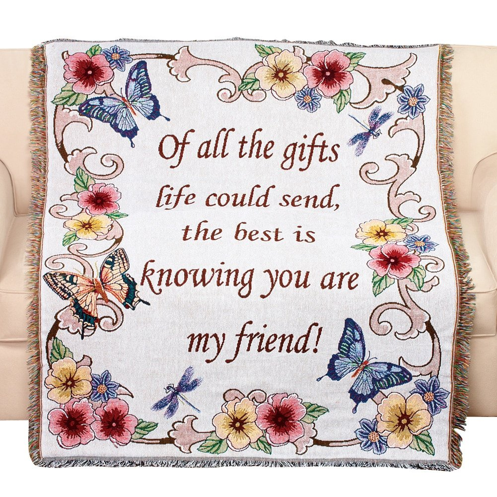 Collections Etc Tapestry Throw Blanket with Fringe Border, My Friend, Floral with Butterflies, 50'' X 60''