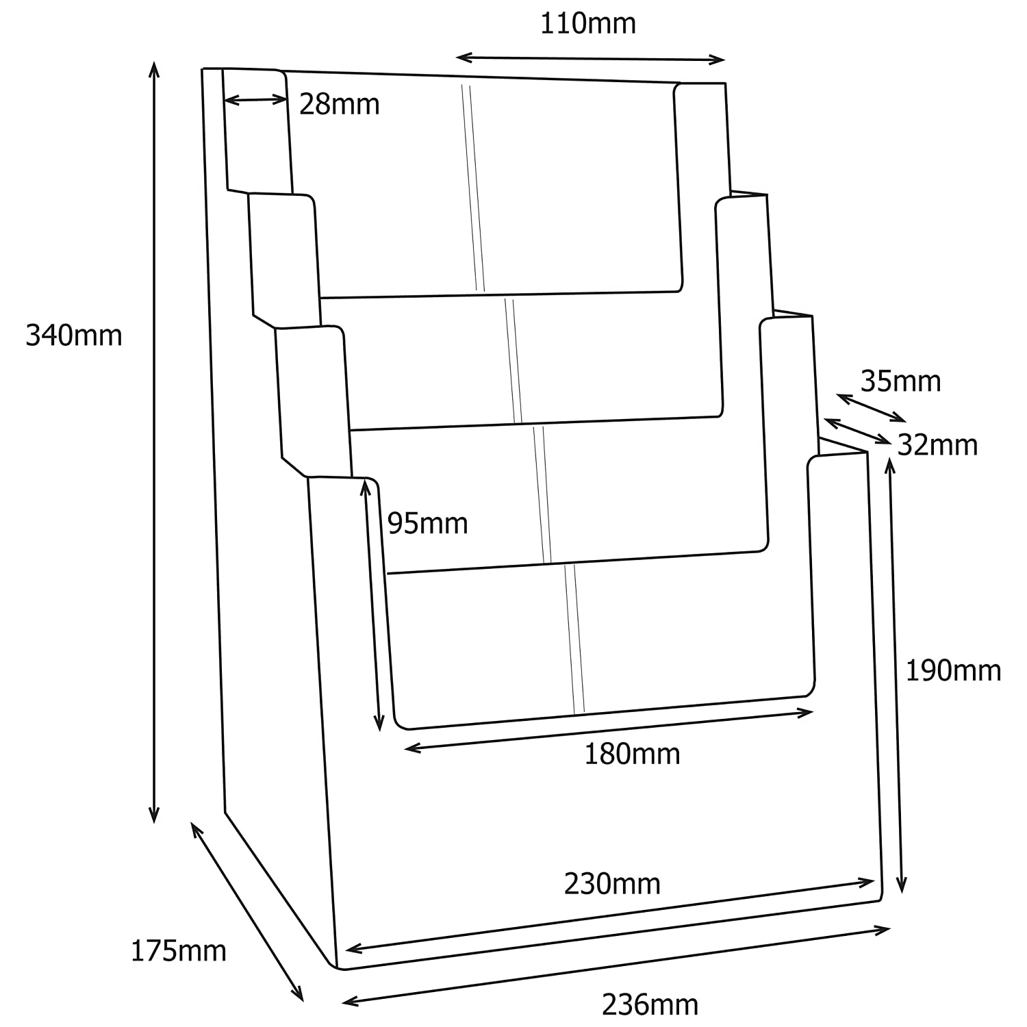 4 Tier Leaflet Dispenser For A4 In Portrait Or 1//3rd A4 In Portrait