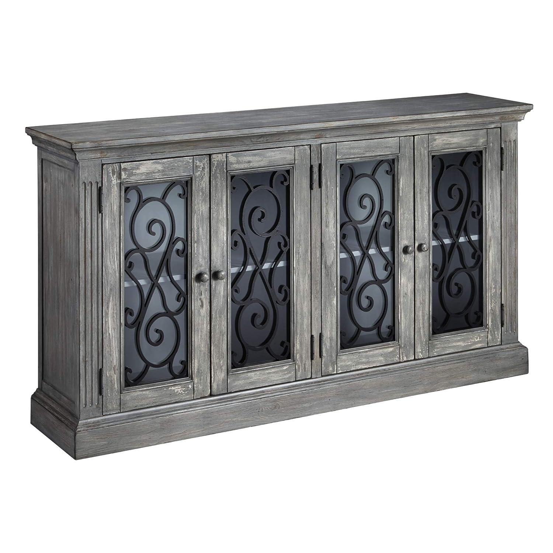 Ashley Furniture Signature Design - Mirimyn 4-Door Accent Cabinet - Casual - Antique Gray