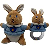Toy Park Soft Plush Baby's Hand Ring Rattle with Soft Toy (Blue Rabbit Teddy Bear) for Kids