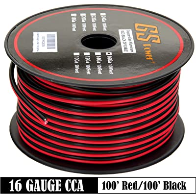 GS Power 16 Gauge Stranded Copper Clad Aluminum 100' Red / 100' Black Bonded Zip Cord Speaker Wire for 12 Volt Automotive Trailer Harness Car Audio Amplifier Wiring: Industrial & Scientific