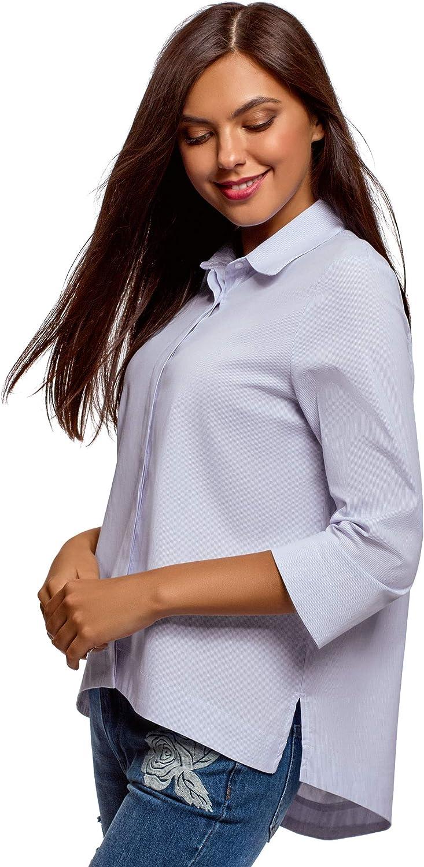 oodji Ultra Mujer Camisa Holgada con Espalda Larga: Amazon.es: Ropa y accesorios