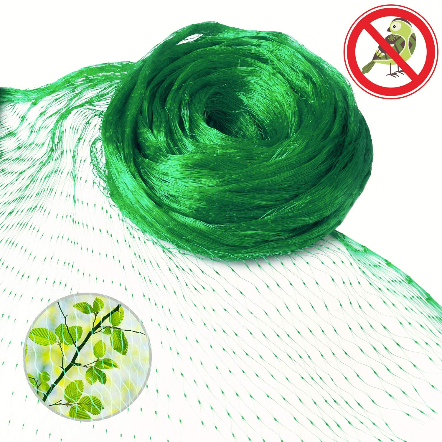 Anti-Bird Netting 13 Ft x 33 Ft Garden Plant Net Protect Fruits berry and Vegetable Rodents Against Birds New 0.6'' Square Mesh Size - Green