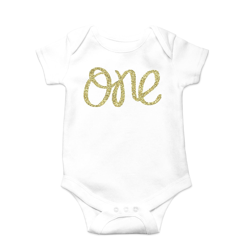 Baby Girls First Birthday Bodysuit Sparkly Gold One Girls 1st Birthday Outfit