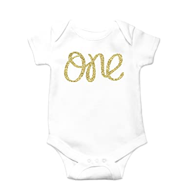 4cf332c5e74 Baby Girls First Birthday Bodysuit Sparkly Glitter Gold One 1st Birthday  Outfit