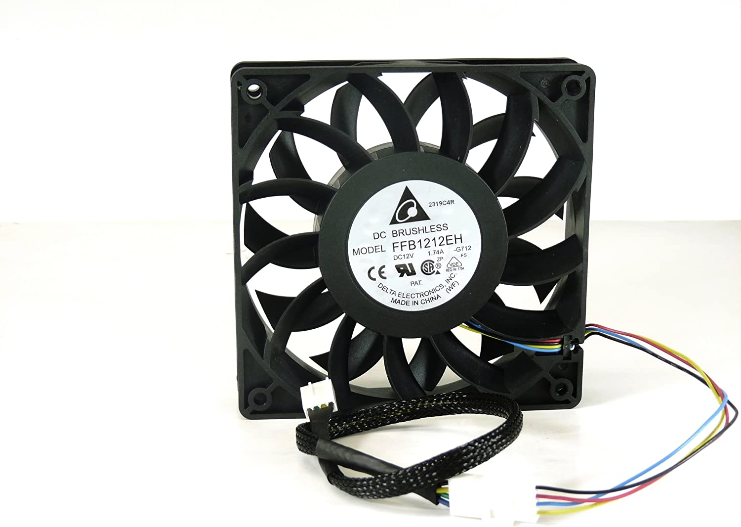 Delta Electronics FFB1212EH 120 x 120 x 25mm PWM Cooling Fan, 4000 RPM, 150.33 CFM, 56.4 dBA, 4-pin PWM connector