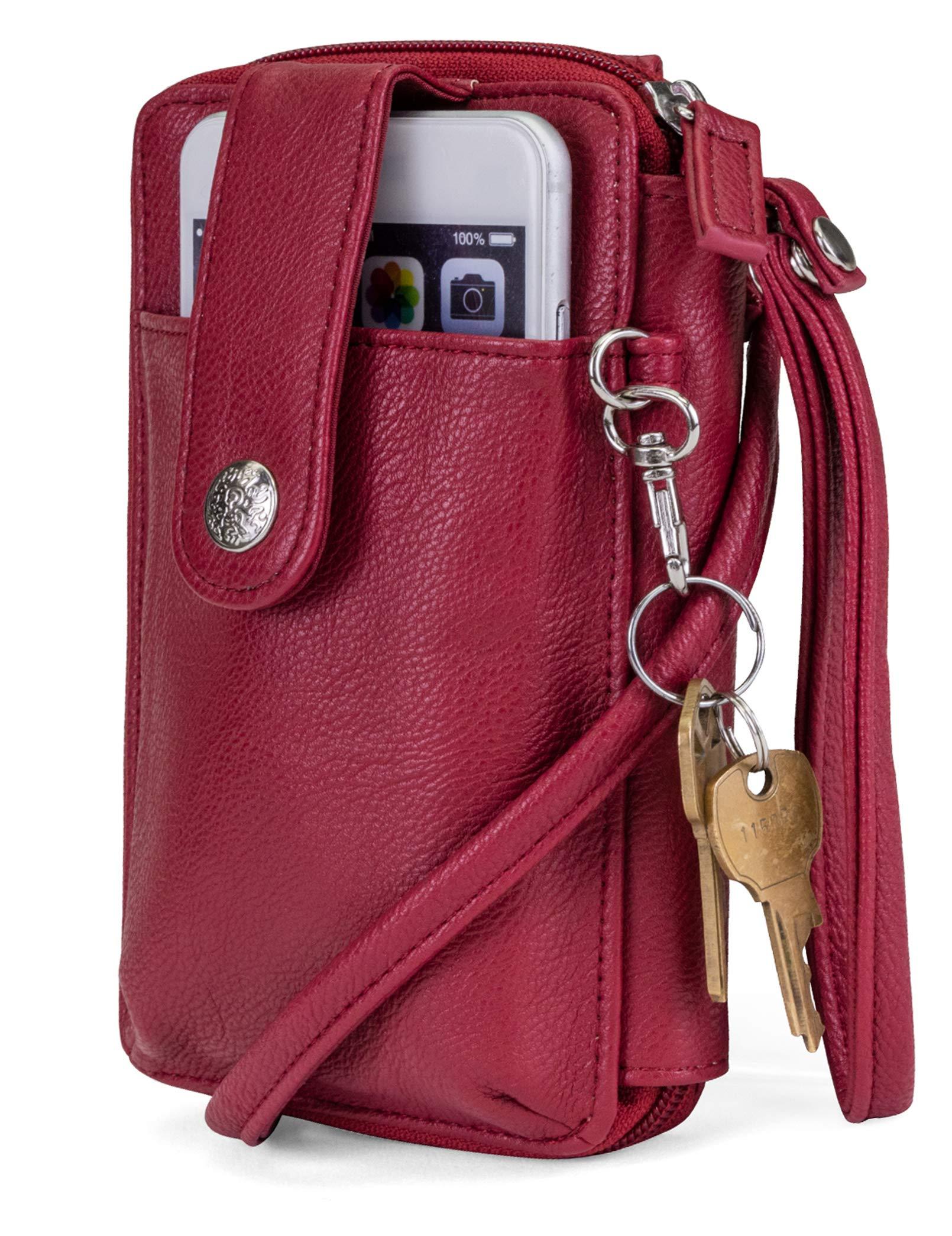 Mundi Jacqui Vegan Leather RFID Womens Crossbody Cell Phone Purse Holder Wallet ((Red))