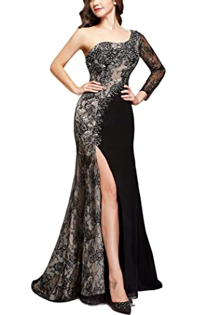 cd6317793dbd6 Womens Lace One Shoulder Prom Dresses 2018 Long Sleeve Split Formal Evening  Gown Black Size 0