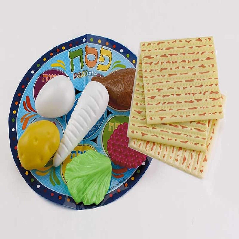 10-Piece Blue and Beige Passover Children Play Seder Set 4.25
