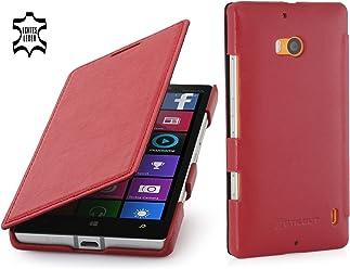 StilGut Book Type Case, Custodia in Vera Pelle Versione Booklet per Nokia Lumia 930, Rosso - Nappa
