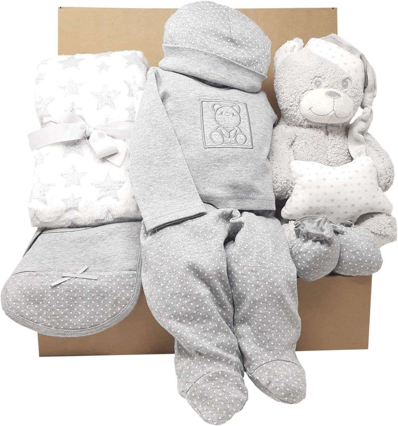 Cesta Bebé modelo MabyBox My Teddy | Canastilla de bebé para regalo que incluye manta, ropa de recien nacido y Peluche (Gris, 0-3 meses)