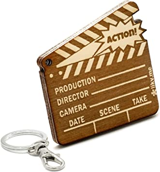 LIKY® Cine Película - Llavero Original de Madera Grabado Regalo Mujer Hombre cumpleaños pasatiempo joyería Colgante Bolso Mochila: Amazon.es: Equipaje