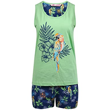 dcbd2aeeca Ladies Parrot Design 2 Piece Long Bottoms or Shorts Pyjama Set Sizes 8-18  (SML - UK 8-10, Green & Blue Shortie Set): Amazon.co.uk: Clothing